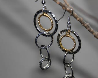 Silver and gold circle earrings
