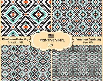 Tribal geometric Pattern Vinyl/Siser HTV/ Oracal/ Indoor Vinyl/ Outdoor Vinyl/ Heat Transfer Vinyl- 309