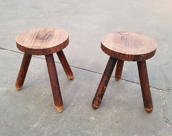 Pair of tripod stools solid wood