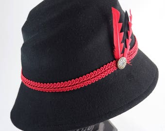 Red and black felt cloche Hat form