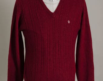 Vintage 1980's Christian Dior Monsieur Red Knit Cardigan Sweater Size M