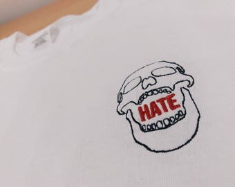 Skull T Shirt Embroided - Streetwear Fashion