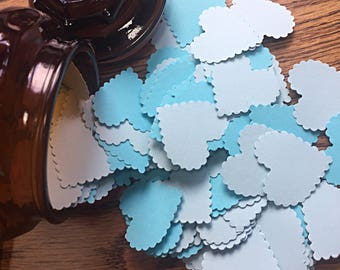 Blue Baby Shower Heart Confetti- Vintage Shabby Chic - Wedding confetti, Baby Boy Shower decoration, Blue table scatters