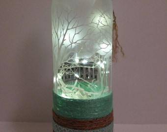 Specialty LED Bottle Light Aqua/Brown