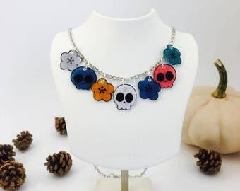 necklace, shrink plastic necklace, halloween, skull necklace, skull necklace