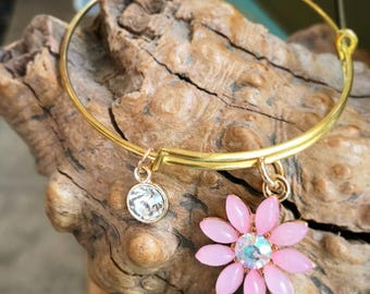 Pink Wildflower Bangle Bracelet