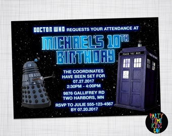Doctor Who Invitation Dr. Who Tardis Dalek Birthday Party Dr Who Doc Who Invite -  Digital File Supplied