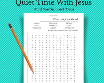 """Bible Word Search // """"Cities Jesus Visited"""" Word Search Printable // Faith Printable // Christian Word Games and Puzzles // Bible Trivia"""