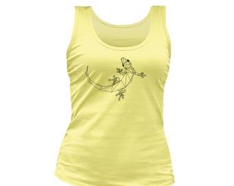 Women's yellow gecko print tank top