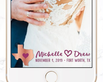 custom snapchat filter / personalized wedding snap chat geofilter / custom state / destination wedding / SGF-44