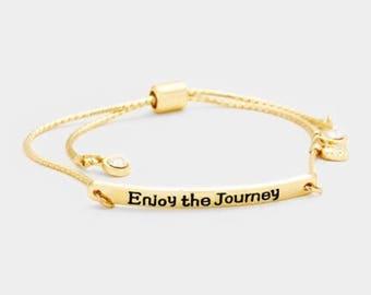 Enjoy the journey ( metal bar heart charms bracelet )