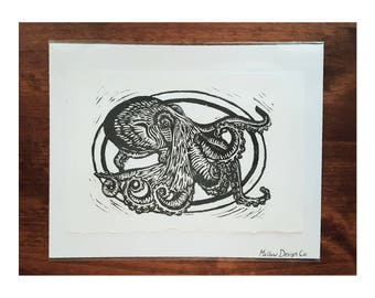 Hand Carved Octopus Linocut Print