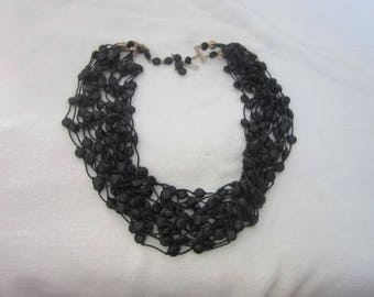 Old 17 Strand Black Beaded Funky Necklace
