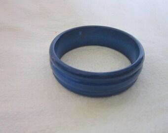 60's Funky Retro Blue Plastic Bangle Bracelet