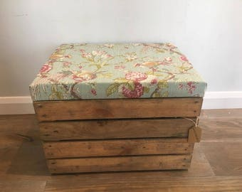 Wooden Apple Crate - Beautiful Floral Fabric Lid - Storage/Ottoman/Footstool - Can be custom made