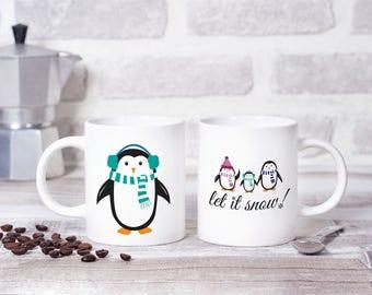 Let It Snow Penguin Mug, Penguins, Winter Mug