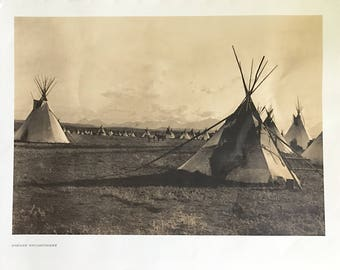 "Edward Curtis Native American Numbered Print ""Piegan Encampment"""