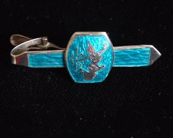 Siam Sterling Silver Tie Bar Blue Enamel Tie Clip Niello Jewelry