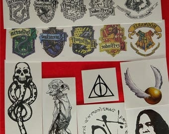 HARRY POTTER 8Pcs Set Temporary Tattoo Cosplay Death Eater Dobby Hogwarts Dark Mark