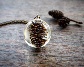 Miniture Pine Cone Necklace, Nature Necklace Jewelry, Pine Cones Lover