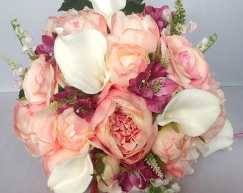 Peony, Calla Lily and Rose Brides Wedding Bouquet