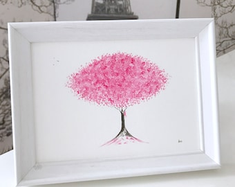 Cherry Blossom Painting: original and framed watercolour art, pink blossom gift, cherry blossom watercolour painting, can be customised!