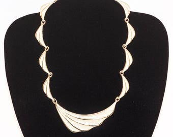 Vintage cream enamel linked panel necklace