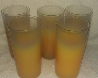 Set of 5 Vintage Yellow Frosted Glasses Drinking Glasses Libbey /  Blendo?