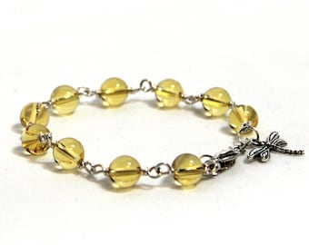 Citrine Beaded Bracelet - Citrine Gemstone Bracelet - November Birthstone Bracelet