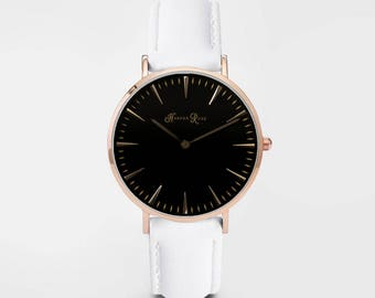 Ladies Watch, Women Leather bracelet, minimalist, gift for her, cheap leather watch, Christmas Watch, White Leather (Rose Gold/Black)