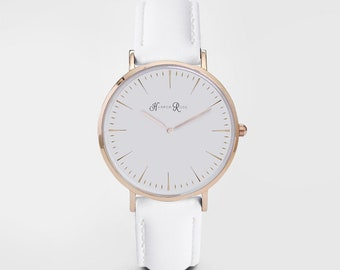 Womens Leather Watch, Ladies Watch, Girls Watch, White Leather Watch, Leather Watch, Christmas Gift, Birthday Gift, Minimalist,