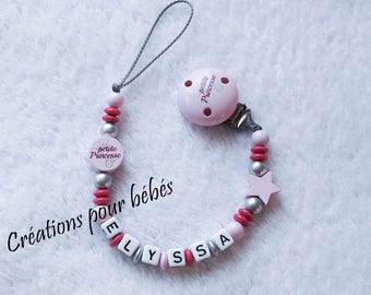 """Attach pacifier girl personalized """"Little Princess"""" with wooden beads"""