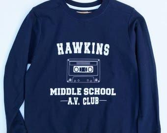 Hawkins Middle School, Stranger Things Sweatshirt Womens, Stranger Things Sweatshirt, Hawkins Sweatshirt, Hawkins Shirt, Stranger Things