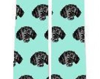 Green Background Custom Dog Socks, Dog Face Socks, Design your own Dog Socks, Pup Socks