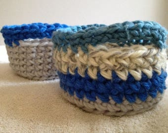Set of Two Crocheted Baskets
