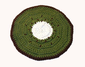 Pot holder crochet kiwi 100% cotton