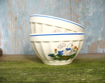 Pair of French vintage café au lait bowls, 1960s