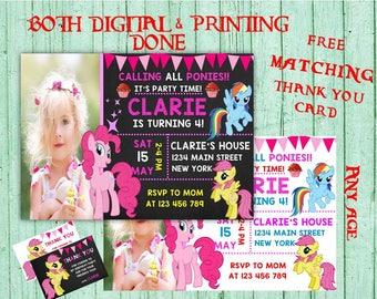 My Little Pony Birthday Invitations My Little Pony Photo Birthday Party  Pony Girls Birthday Printable Invitations Pony  Printable Birthday