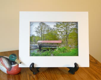 SALE!!! Covered bridge, matted print, photography
