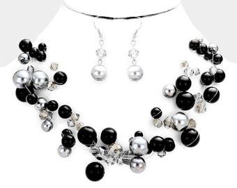 Black and Silver Multi Strand Pearl Beaded Illusion Necklace