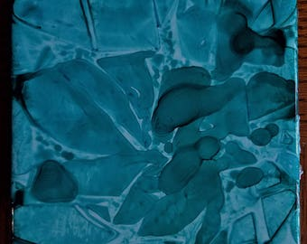 CERAMIC TILE: Abstract Shapes in Teal #014