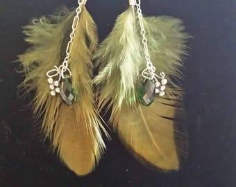 Hunter green swarovski grape feather earrings