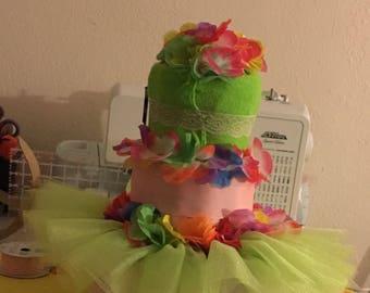 Custom diaper cake: Luau (Hawaiian) themed for baby girk