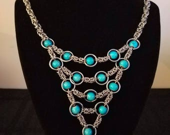 Chainmaille Stainless Steel and Beaded Necklace