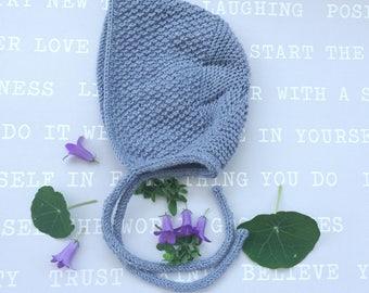 Newborn Grey bonnet Neutral Bonnet Hat   Mix grey baby hat  Unisex Knitted Bonnet Size 0-3 month Merino Wool