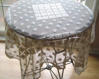 Antique Filet Lace Tablecloth Vintage Hand Made Lace Tablecloth Vintage Antique Cluny Lace Style Tablecloth