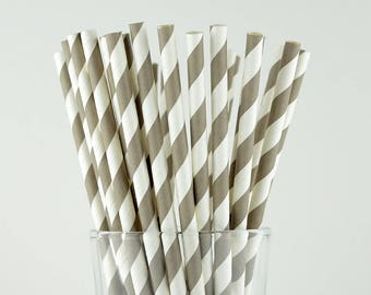 Grey Striped Paper Straws - Mason Jar Straws - Party Decor Supply - Cake Pop Sticks - Party Favor