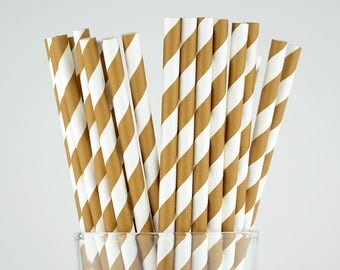Brown Striped Paper Straws - Mason Jar Straws - Party Decor Supply - Cake Pop Sticks - Party Favor