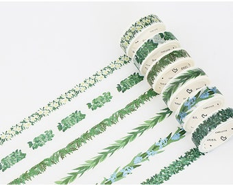 Set of 6 Rolls Flowers/ Leaves/ Plants Washi Tape - 15mm x 7m - Gift Wrapping - Decorative Tape - Scrapbooking Sticker