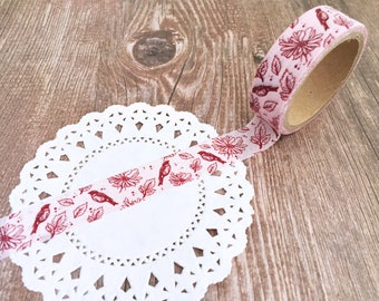 Birds - Floral - Leaves - Washi Tape - Single Roll Set - 15mm x 5metres - Adhesive Tape